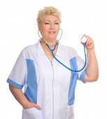Mature doctor with stethoscope isolated