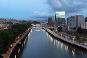 City Of Bilbao At Dusk, Spain