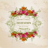 Floral Card with Vintage Frame - for design, background, invitation - in vector