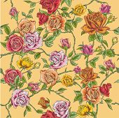 Seamless Floral Roses Background - texture, design, wallpaper - in vector