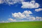 Green Meadow, Sky, Clouds
