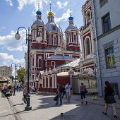 Moscow, Russia, on July 26, 2014. Tourists and citizens walk on a foot zone in the downtown