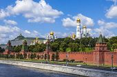Moscow, Russia, on July 26, 2014. View of the Kremlin and Kremlevskaya Embankment of the Moskva Rive