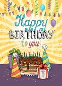 pic of birthday hat  - Happy Birthday greeting card or invitation with a still life of conical party hats  balloons  streamers  confetti  a chocolate cake with burning candles and gifts on a background of radiating rays - JPG