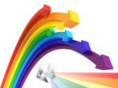 pic of prism  - 3d illustration rainbow arrows with a prism - JPG