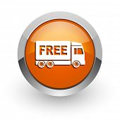 free delivery orange glossy web icon