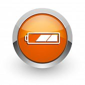 battery orange glossy web icon