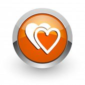 love orange glossy web icon