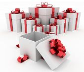 Gift boxes and open gift box. 3d illustration on a white