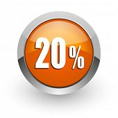 20 percent orange glossy web icon
