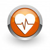 pulse orange glossy web icon