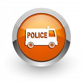 police orange glossy web icon