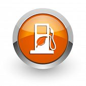 biofuel orange glossy web icon