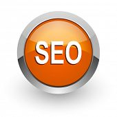 seo orange glossy web icon
