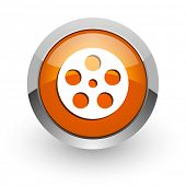 video orange glossy web icon