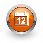 calendar orange glossy web icon