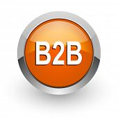 b2b orange glossy web icon