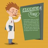 pic of prospectus  - Vintage style Education Time poster vector design with an eccentric nerdy professor wearing glasses teaching on a school or college blackboard with copyspace for text - JPG
