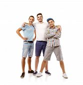 stock photo of mans-best-friend  - Group of young men isolated on white background - JPG