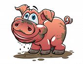 pic of piglet  - Cute little muddy pink cartoon piglet or pig with a happy grin and curly tail dripping mud for farm and agriculture industry design - JPG