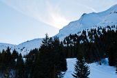 Snow Mountain Slopes In Skiarea Portes Du Soleil