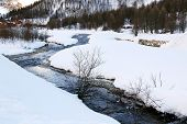 Valley Isere River In Winter, France