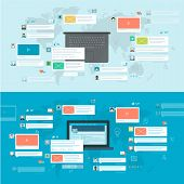 Set of flat design concepts for social network, social media, online communication