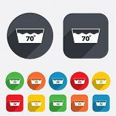 Wash icon. Machine washable at 70 degrees symbol