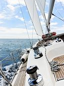 Yacht Is Tacking In Adriatic Sea,