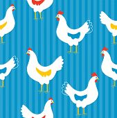 stock photo of duck egg blue  - Seamless pattern with hens  - JPG