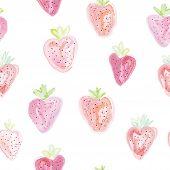 Strawberries seamless pattern - pastel colors