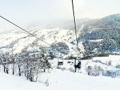 Cableway Ski Lift In Skiing Area Via Lattea, Italy