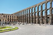 Aqueduct Of Segovia On Plaza Del Azoguejo