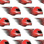 Seamless pattern of red racing helmet with speed spikes