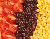 Texture of beans salad. Macro.