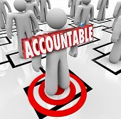 Accountable word in 3d letters pinned onto a worker standing on an org chart as placing the blame or