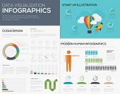 Data visualization infographic vector for start up pies and bars