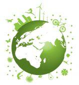 Ilustración de vector de concepto de tierra verde sobre fondo blanco