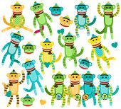 image of sock-monkey  - Collection of Gender Neutral Sock Monkey Vectors - JPG