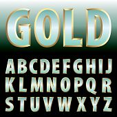 vector turquoise green gold letters