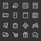 Home appliances web icons, grey set