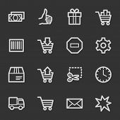 Shopping cart web icons, grey set