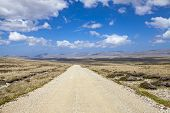 stock photo of falklands  - Gravel road from Port Stanley to North Pond on East Falkland - JPG