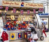 Paddington Bear Stand At Paddington Station London
