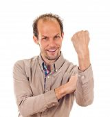 stock photo of indecent  - young man showing cubital sign - JPG