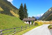Early autumn in the Austrian Alps. The beautiful sunny day in the national park of the Grossglockner