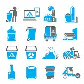 image of garbage bin  - set of 16 garbage icons - JPG