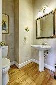 Light Grey Bathroom With White Washbasin Stand