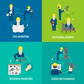 stock photo of mechanical engineering  - Civil professional mechanical science engineering concept flat business icons set of manufacturing management worker for infographics design web elements vector illustration - JPG