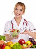 Doctor dietitian recommending healthy food